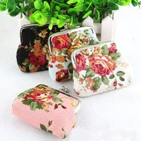 Wholesale Rose Wallets Purses - Vintage Rose flower coin purse canvas Coin bag keys Bags pocket holder wallet hasp small gifts bag clutch handbag Christmas gift
