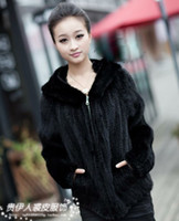 Wholesale Knitted Mink Coat Hood - Wholesale-2015 new hooded genuine mink thickening knitted coat with zipper large size naural black and mahogany fur mink Women clothes