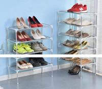Wholesale Furniture Weaves - DIY non-woven fabrics Shoe Storage Cabinet Shelf Multi-layer Combination Furniture Storage Organizor Removable Door Shoe display Shelf