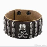 Wholesale Gothic Mens Stainless Steel Bracelets - Punk Mens Leather Bracelet Wide Cuff Bracelets & Bangles Gothic Rock Skull & Bullet Antique Silver Baubles Charm Women Jewelry