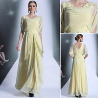 Wholesale Salomon Green - Elegant Salomon Long prom dress A-line Chiffon vestido de baile Appplique O-neck Short Sleeve Vestido de festa Prom Dresses