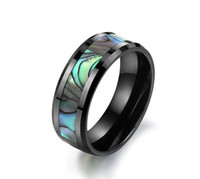 Atacado - Tungsten Carbide Mens Ring Wedding Band Cor Abalone Shell Inlay tamanho 6/7/8/9/10 /