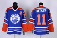 ingrosso pullover hockey autentico ccm vintage-Alta qualità ! Edmonton Oilers maglie da hockey su ghiaccio a buon mercato 11 Mark Messier Retro Vintage CCM maglie autentiche cucite ordine della miscela!