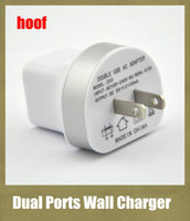 Wholesale interface tablet pc - 2.1A 1.0A dual interface hoof wall charger 2 usb ports double usb AC adapter suitable for universal cellphone iphone ipad tablet PC CAB022