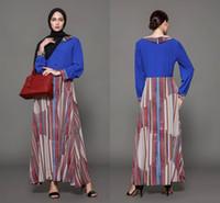 Wholesale Peplum Maxi - Cheap Autumn Maxi Striped Dresses Women Long Dresses Middle East Dubai Dress Arabic Plus Size Formal Gowns FS2500