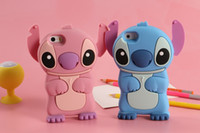 Wholesale Iphone 5s Lilo Stitch - 3D Cartoon Silicone Rubber Lilo & Stitch Back Cover Case For iPhone 4 5 5S SE 6 7 Plus iPod Touch iPhone7 T4 T5 iPhone6