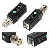 Wholesale Video Balun Power Connectors - 2pcs Coax CAT5 Camera CCTV Passive BNC Video Balun to UTP Transceiver Connector S512