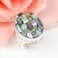 2 pièces 1 lot Vente en gros Real Oval Crystal Abalone Shell Gemstone 925 Sterling Silver Ring Russie American Australia Weddings Ring Jewelry Gift