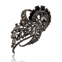 Wholesale China Wholesale Jewerly - 3.8 inch huge vintage style black brooch large crystals luxury wedding bridal jewerly brooch hot selling noble party costume women pins