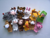 Wholesale Zodiac Hand Finger Puppets - Wholesale-Chinese Zodiac Finger Puppets 12pcs lot Animals Cartoon Finger Puppet For Kids Plush Toys Hand Dolls Pig Dog Fantoche