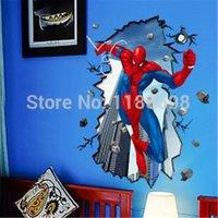 adesivo de parede removível spiderman venda por atacado-Chegada nova Removível e Elegante Spiderman Adesivos de Parede para Quartos de Crianças Adesivos De Parede Decoração de Casa Tomada de Qualidade Superior