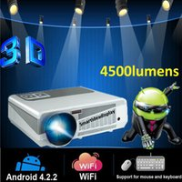 Wholesale Android Led Projector Full Hd - Free Gift 100inch Screen Full HD Proyector 4500lumen Android 4.2 Wifi RJ45 LED Multimedia video 3D TV Projector 1280*800 for home theatre