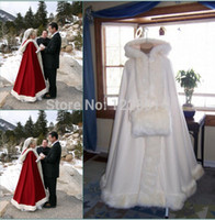 Wholesale red hooded cloak - Romantic Real Image 2018 Hooded Bridal Cape Ivory White Long Wedding Cloaks Faux Fur For Winter Wedding Bridal Wraps Bridal Cloak Plus Size