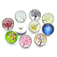 Wholesale mixed glass cabochons - Wholesale- 10pcs lot Mixed Colors tree of Life 12mm 18mm 20mm Glass Snap Button Jewelry Cabochons Fit Snap Button Bracelet Jewelry A5