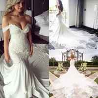 Wholesale modest cathedral gowns - Off Shoulder Lace Embroidery Detail Mermaid Wedding Dresses 2018 Modest Cathedral Train Elegant Beach Garden Castle Fishtail Wedding Gowns