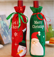 Wholesale Lowest Price Christmas Decorations - Lowest Price!! 2017 Christmas Wine Bottle Covers Red Wine Bags Decoration Snowman Santa Claus Christmas Gift Bag Christmas Decoration