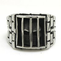 Wholesale Awesome Skulls - 2pcs Fast Shipping Ghost Skull In Prison Ring 316L Stainless Steel Fashion Jewelry Cool Biker Awesome Justice Skull Ring