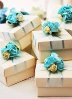 Wholesale Blue Paper Gift Box - Best Favor Holiders Square Paper Boxes With Ribbon Flower Elegant Red Blue Roseo Purple Color Wedding Gift Boxes Hot Selling Drop ship
