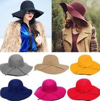 Wholesale Hat Novelty Felt - Winter Fedora Hats for Women Hat Vintage 2017 Bowler Jazz Top Cap Felt Wide Brim Floppy Sun Beach Cashmere Church Caps DII[CA03033*1]