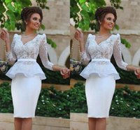 Wholesale Hote Sexy Dress - Hote Myriam Fares White Prom Dresses Arabic with Long Sleeves Sheath V neck Short Bridal Plus Size Formal Evening Gowns 2016