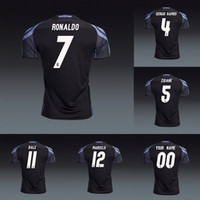 Wholesale cristiano ronaldo black jersey resale online - Player version Real Madrid rd Black soccer jerseys shirts Cristiano Ronaldo Gareth Bale kroos Sergio Ramos Marcelo isco Zidane