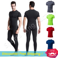 Wholesale Tight T Shirt Dresses - 2016 Mens tight fitting sports t shirt fitness training Strengthen muscles feel short sleeved sweat wicking running shirt dress 1003