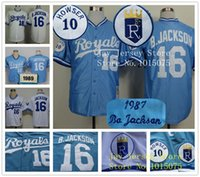 Unisex outlet custom - Factory Outlet Custom Mens Womens Kids Kansas City Royals Bo Jackson Throwback Blue White Grey Flex Base Cool Base Baseball Jerseys
