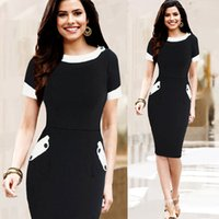 Wholesale Dresses For Work Summer - Black Office Dress For Women 2016 New Arrivals Fashion Pencil Knee Length Dresses Short Sleeve Summer Casual Work Dresses 1295