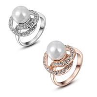 brautkleider grüne diamanten großhandel-Mode 18K Rose Gold und Weißgold plattiert Perle Strass grünen Ring österreichischen Diamant Kristall Hochzeit Kleid Ringe