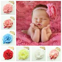 rosas de chiffon surradas venda por atacado-400 pcs new Baby Girl Chiffon Rose Flor Headbands Menina Gasto Diamante Rhinestone Lantejoula Arcos Rags Flor Headbands Headwear Cocar D185