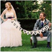 ingrosso appena oggetti sposati-All'ingrosso-Just Married Vintage Wedding Bunting Banner decorazioni per feste di nozze Photo Booth Props Ghirlanda Bridal Shower decorazione di nozze