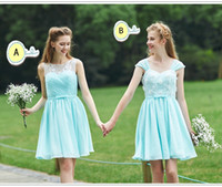 Wholesale Cheap Fresh Red Coral - Fresh Light green Knee Length Lace Bridesmaid Dresses For Cheap Two styles Zipper Chiffon maids Of honor Gowns Custom made Party Wear WWL