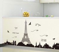 Großhandel-PVC Art Wall Paper Abnehmbare Paris Eiffelturm Backgroup Schlafzimmer trendige Home Decor Wallpaper