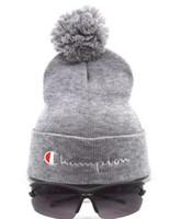 Wholesale cowboy hats for men beach - New Brand beanies Knitted Hat Designer Champion Winter Warm Thick Beanie Fedora gorro Bonnet Skull Hats for Men women Crochet Skiing Cap hat