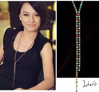 Wholesale Long Swarovski Necklace - High quality SWAROVSKI Elements Rhinestone Colorful Long Bead Chain Necklace Jewelry Accessories for Women Xmas Gift #71511