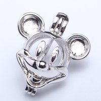 Wholesale Pearl Silver Jewellery - 925 Sterling Silver Mickey Mouse Cage Sterling Silver Oyster Pearl  Crystal  Gem Bead Cage Pendant Mounting for DIY Fashion Jewellery Charms