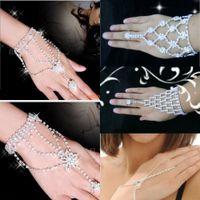 pulsera nupcial del pun ¢ o del rhinestone al por mayor-Tan barato de moda nupcial de la boda pulseras artificiales Crystal Rhinestone joyería esclavo pulsera pulsera arnés brazalete pulseras para mujeres