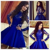 Wholesale White One Sleeve Homecoming Dress - Royal Blue Short Prom Dresses Ball Gown Long Sleeves Satin Sheer Neck Lace 2016 Cheap Arabic College 8th Homecoming Party Cocktail Dresses