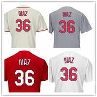 2017 2018 Custom 100% Top Stitched Diaz Mens Jersey, nuevo # 36 Aledmys Diaz Authentic Cool Base gris blanco Cream Red Jersey