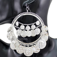 Wholesale Belly Dance Jewelry Gold - Tribal Rare Coins Big Hoop Banjara Kuchi Belly Dance Chain Boho Gypsy Earrings Jewelry Free Shipping