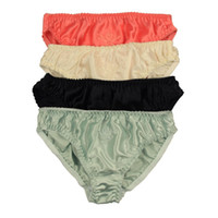 Wholesale Sexiest Womens Panties - Free Shipping 4PC 100% Silk Womens Bikinis Briefs Panties Cotton crotch For US Size M L XL XXL