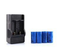 cargador de pilas recargables cr123a al por mayor-4 piezas CR123A 16340 baterías 3.7 V 1200 mah Batería recargable + 16340 Cargador de CA para linterna LED / Cámara digital / Lápiz láser Envío gratis