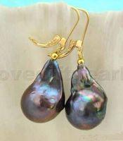 Wholesale Natural Keshi Pearls - New natural Jewelry Genuine HOT charming Wholesale 1pair 18-22mm baroque black reborn keshi pearl dangle earring 14K