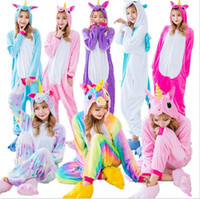 Wholesale flannel pajamas xl - Wholesale Rainbow Unicorn Pikachu Stitch Unisex Flannel Hoodie Pajamas Costume Cosplay Animal Onesies Sleepwear Men Women Adults