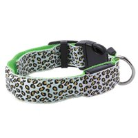 Wholesale led safe lights online - Safe Dog Collar Dog LED Lights Glow Nylon Leopard Pet Collar For Pet Electric Luxury Pitbull Cat To Small LED Dog Collar Leads