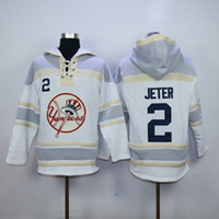 Wholesale Cheap Fleece Sweaters - Yankees #2 Derek Jeter Lace Up Pullover Hooded Sweatshirt Baseball Hoodies Mens Sports Jackets Cheap Fleece Players Baseball Sweaters