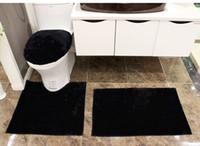 banyolar siyah tuvaletler toptan satış-Beyaz siyah lüks banyo halısı set banyo kilim mat set klozet kapakları setleri koltuk klozet setleri