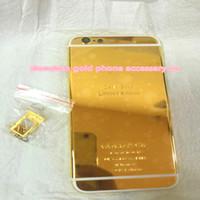 iphone habitação ouro 24k venda por atacado-24 k dubai ouro chapeamento de volta da tampa da caixa da pele para o iphone 6 4.7