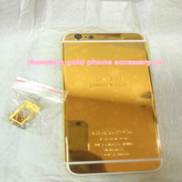 "Wholesale Iphone Golden Cover - 24K Dubai Gold Plating back Housing Cover Skin for iPhone 6 4.7"" 24kt 24ct Limited Edition Golden Back Cover Housing Battery Back For iphone"