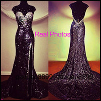 Wholesale Split Sleeve Occasion Dresses - Sexy Backless Sequins Crystal Prom Dresses Beaded Sheer Neck Split Formal Occasion Evening Pageant Celebrity Gowns Real Image 2016 Arabic